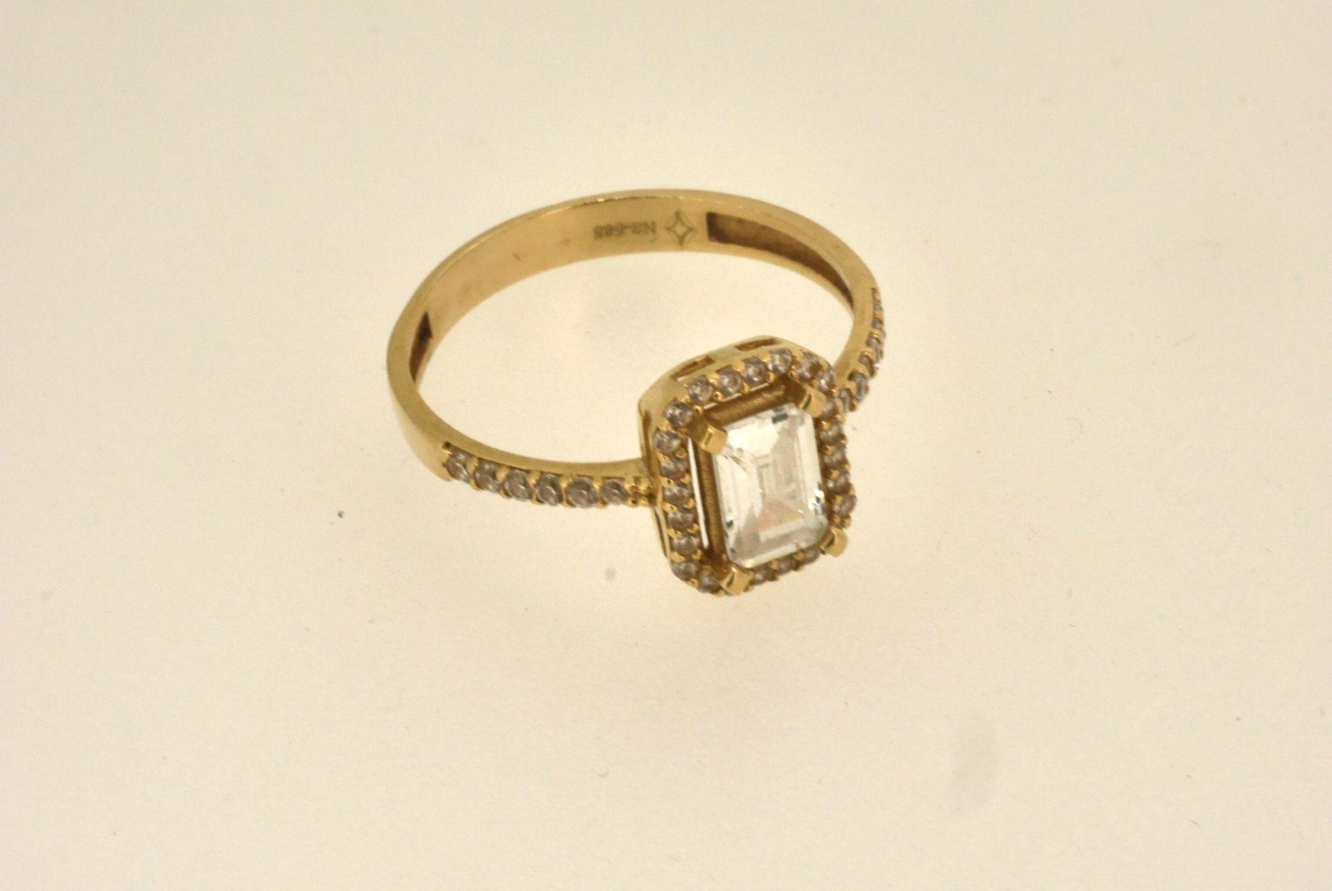 Ring GG 585, Zirkonia, 1,86 Gramm