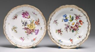 Paar Meissner Teller mit Blumenmalerei