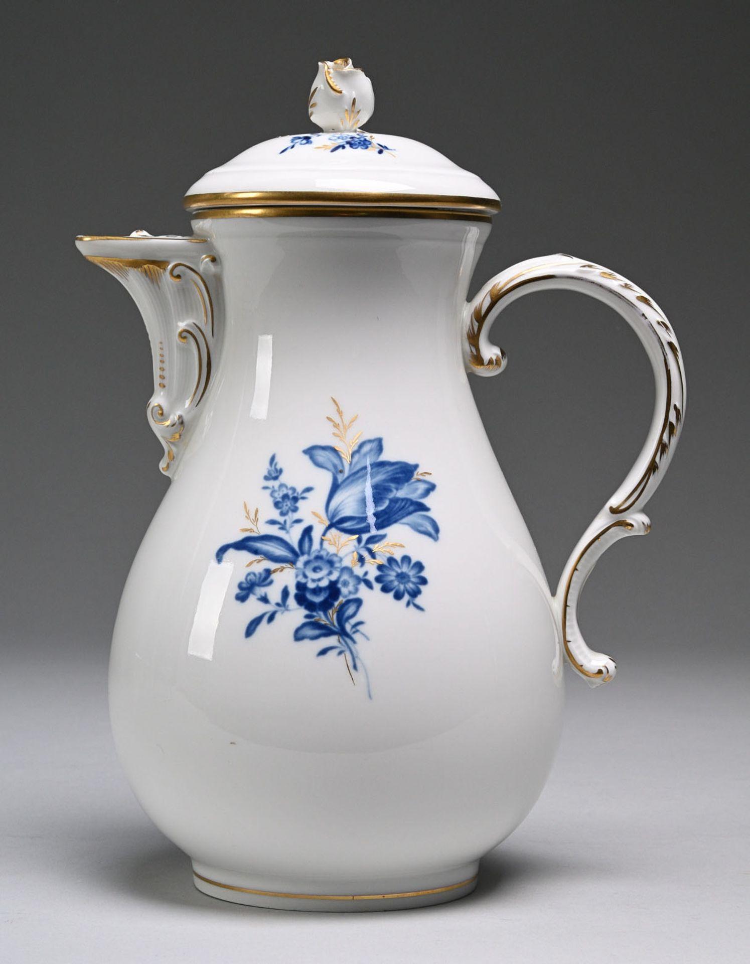 """Kaffeekanne """"Blaue Blume mit Goldgräsern"""""""