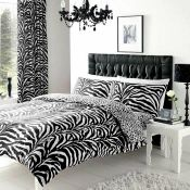 5ft Kingsize Zebra Skin 144 TC Duvet Cover Set - RRP £14.99