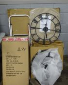 QTY OF METAL CLOCKS, PLASTIC MIRRORS, WHITE BOARD & FOLDING LADDER