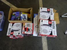 QTY OF FAN HEATERS, VACCUM CLEANER & BOX OF ODDS