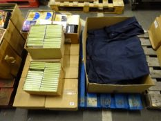 PALLET OF UNLOCKING SECRETS OF 2012 CD'S AND BOX OF CLOTHING