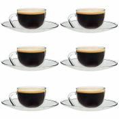 Argon Tableware Clear Glass Espresso Cup & Saucer - 60Ml (2.1Oz) - Pack Of 6 (Set of 6) - RRP £18.99