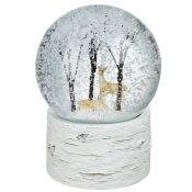 Deer and Trees Musical Snow Globe with Birch Base - RRP £30.99