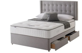 Carpet Right Ex-Display 5ft Silentnight Rapport Divan Bed With 4 Drawers & Heaboard|RRP £1349|