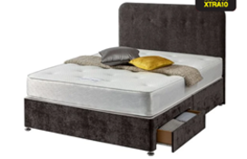Carpet Right Ex-Display 5ft Sleepright Genoa Divan Bed 2 Drawers & Headboard|RRP £349|