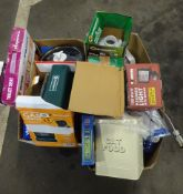 2 BOXES OF PRESSURE SPRAYERS, LIGHTS, GAS HEATERS, TOILET SEATS & ODDS