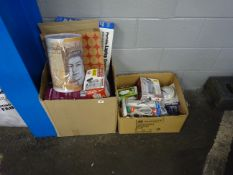 2 BOXES OF ELECTRICALS, KITCHENWARE & ODDS