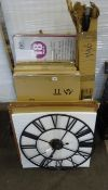 X3 MIRRORS, X2 ELECTRIC CLOTHES AIRERS, 2 METAL CLOCKS & ODDS