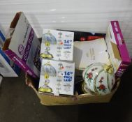 BOX OF LAMPS, RICE COOKERS, TOILET SEAT, KITCHENWARE & ODDS