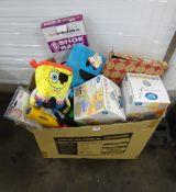 BOX OF KIDS TEDDIES, WATER BOTTLES, CANDLES & ODDS