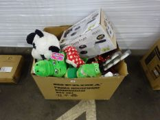 BOX OF KIDS TEDDIES, TOYS, KITCHENWARE & ODDS