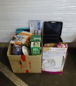 BOX OF PRESSURE SPRAYERS, TOILET SEATS, TV BRACKETS, PLASTIC CASES & ODDS