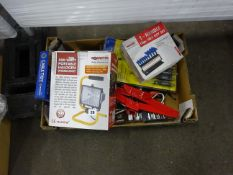 BOX OF TOOLS INCLUDING LIGHTS, SCREWDRIVERS, SOCKETS & ODDDS