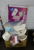 ELECTRIC CLOTHES AIRER & BOX OF SM PRAMS, TEDDIES & ODDS