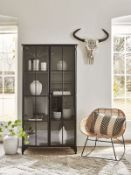 Black Iron Display Cabinet - Tall - RRP £1,495.00 (doors not closing correctly)