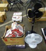 BOX OF ELEC FAN HEATERS & 3 PORTABLE FANS