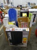 RADIATOR HEATER, BOX OF KITCHENWARE & ODDS