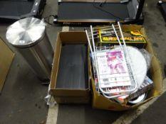 METAL BIN, PLASTIC SHELVING & BOX OF KITCHENWARE & ODDS