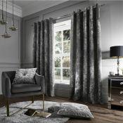 Crushed Velvet Eyelet Curtains - RRP £56.82