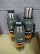 X3 STANLEY FLASKS (2 WITHOUT LIDS)