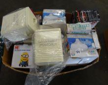 BOX OF LAUNDRY POWDER TINS, KITCHENWARE & ODDS