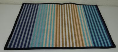 Handforth 50X75cm Blue Stripes Printed Polyamide Mat