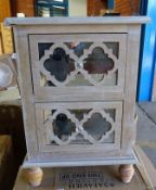 Bedside Table 2 drawers memory patinated wood