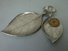 Metal Leaf and Flower Tray Ornament