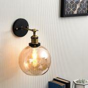 SHERIDAN WALL LIGHT WITH AMBER GLASS SHADE - RRP £35.00