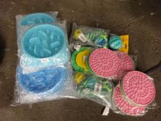 QTY OF NEW DOG BOWLS & DOG TOYS