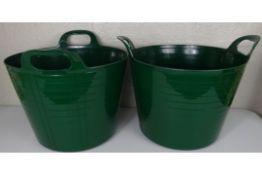 x2 New Green Plastic Large Storage Buckets