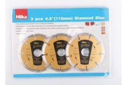 """New Hilka 3pc 4.5"""" (115mm) Diamond Cutting Discs"""