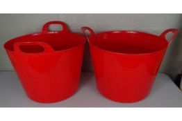 x2 New Red Plastic Large Storage Buckets