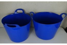 x2 New Blue Plastic Large Storage Buckets