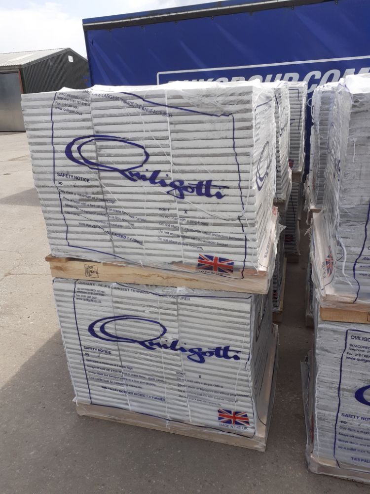 x40 Pallets Of Brand New Commercial Terrazo Floor Tiles (216 Tiles Per Pallet) | x15 Lots Of 2000 Type 2 Face Masks | No Reserves
