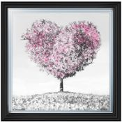 Pink Heart Tree' Framed Graphic Art in Grey/Pink - RRP £65.99