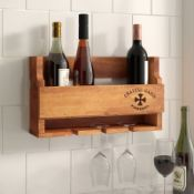 Cheltondale Solid Wood Wall Mounted Wine Bottle Rack in Brown - RRP £38.99