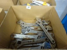 BOX OF 10 LARGE ADJUSTIBLE SPANNERS (SLIGHTY RUSTY)