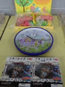 X2 FRIENDS CARD HOLDERS, CLOCK & QTY OF EASTER EGG HUNT WOODEN PLAQUES