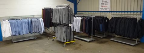 320PCS OF MENS DEBENHAMS CLOTHING WITH AN APPROX RRP OF £10500, INCLUDES SHIRTS AND COATS.