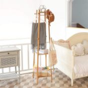 2x Coat Stand Rack Hanger: Bamboo Coat Rack With Shelf Coat Trees Free Standing Garment Stand Clothi