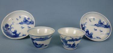 Paar Koppchen mit Unterteller, China, 18.Jh / 19.Jh.