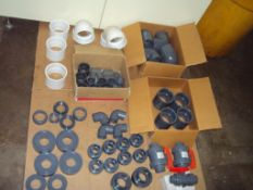 Lot of PVC and CPVC fittings, unions and valves