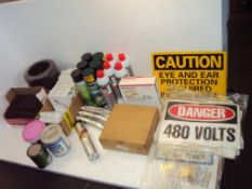 Shop Supplies Signs, cleaners, shim stock and lubricants