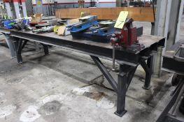"32"" x 10' Steel Worktable w/ 5"" Bench Vise"