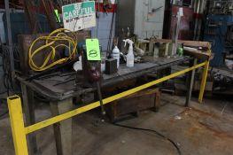 """30"""" x 8' Heavy Duty Steel Worktable w/ 5"""" Bench Vise"""