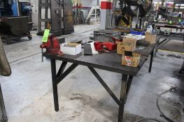 """4' x 8' x 2"""" Thick Heavy Duty Steel Worktable w/ 4"""" Bench Vise"""