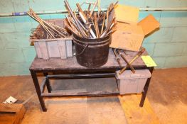 (2) Steel Benches Wood Tops w/ Contents